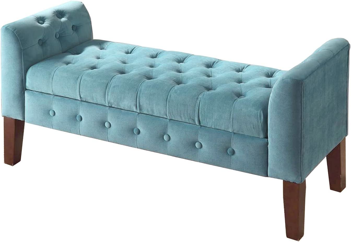 HomePop Velvet Tufted Storage Bench Settee with Hinged Lid, Teal