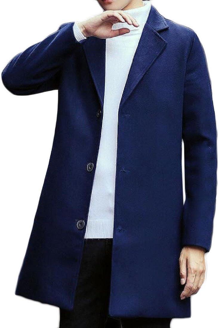 DoufineMen Doufine Men Lapel Long Sleeve Mid Length Pure Color Pea Coat