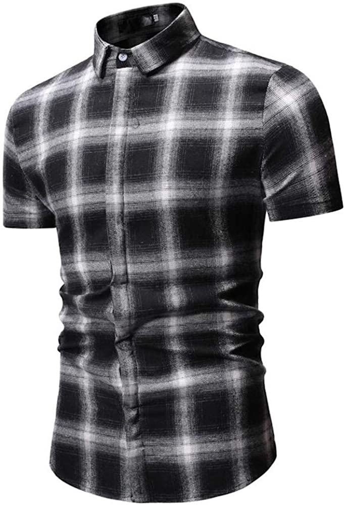 Camisa De Manga Corta con Botones Abajo A Cuadros De Hombre Top Blusa: Amazon.es: Ropa y accesorios