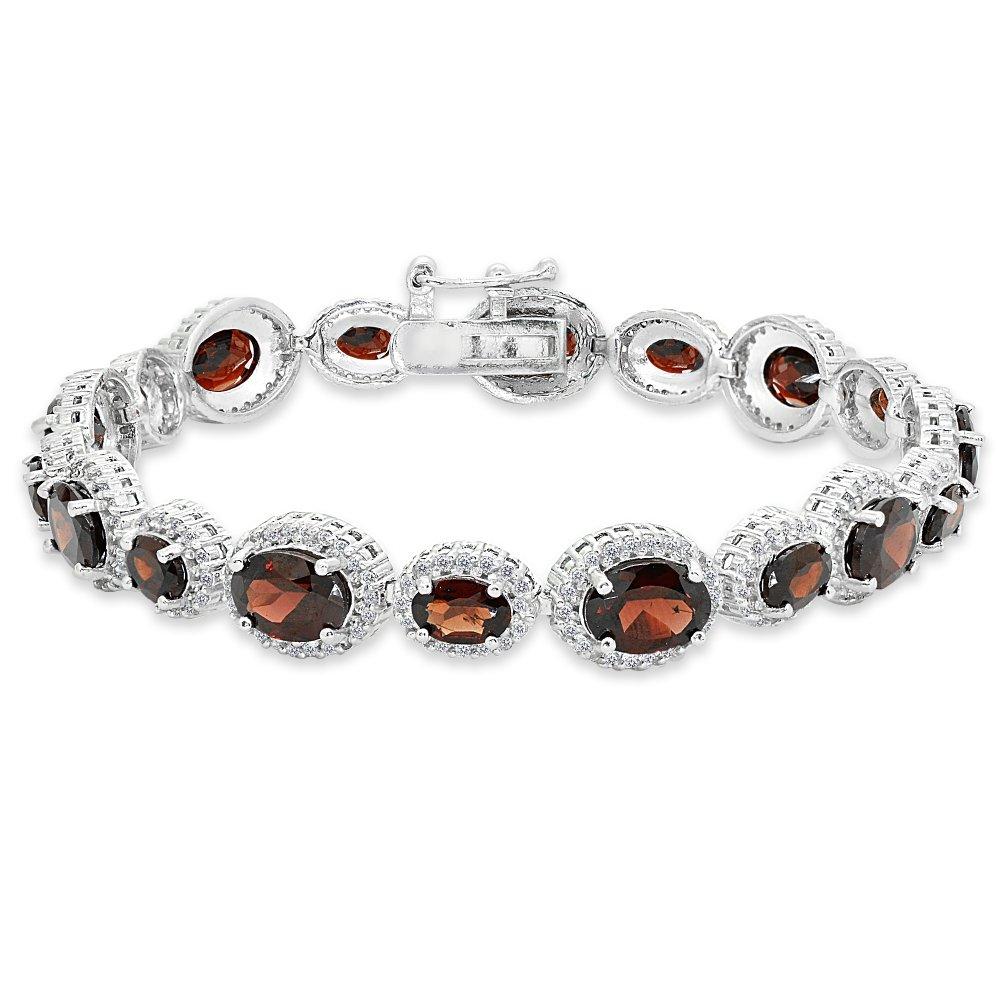Sterling Silver Garnet & White Topaz Oval Halo Statement Bracelet