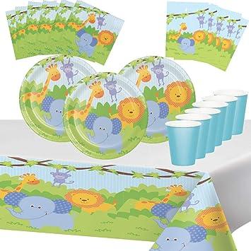Fiesta de Cumpleaños de Animales Della Foresta León Elefante Jirafa 8 Niños Chico Decoración Mesa 1 Mantel 8 Tazas 16 Servilletas 16 Platos 8 Bolsas ...