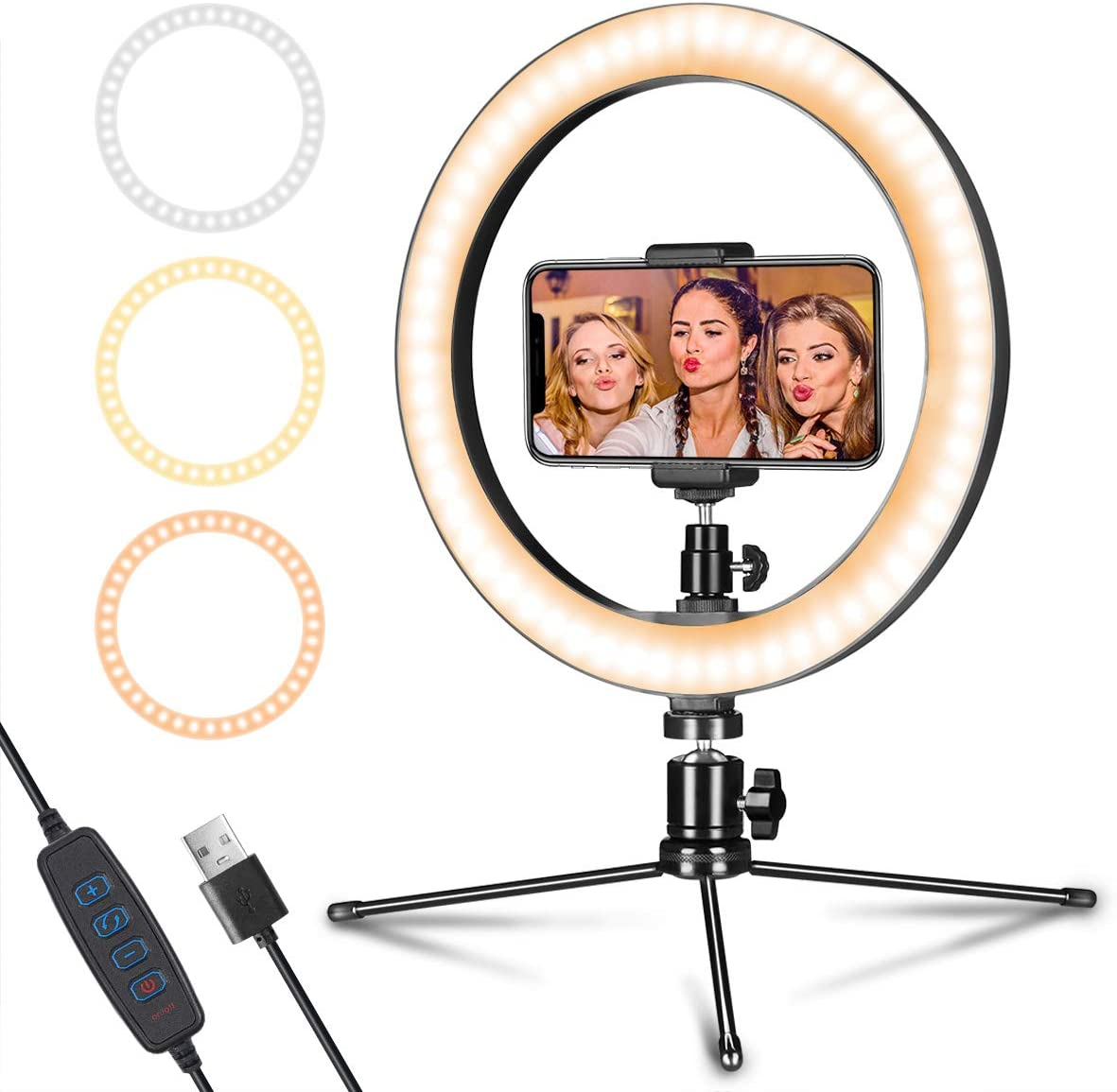 "LED Ring Light 10"" with Tripod Stand & Phone Holder for Live Streaming"