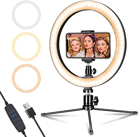 10 Dimmable LED Ring Light Photography Lighting with Stand Makeup Video Live Studio Light Smartphone