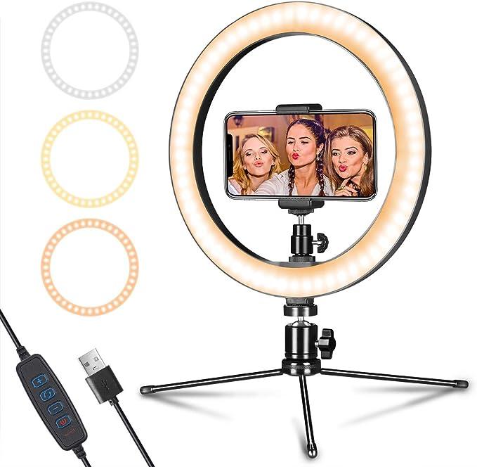 lahomie Ring Light,8 Ringlicht 3 Beleuchtungsmodi und Einstellbarer Helligkeit Dimmbares LED-Ringlicht f/ür Fotografie YouTube Videoaufnahmen Make-up Selfie Video einfache retusche Dein Foto und vlog
