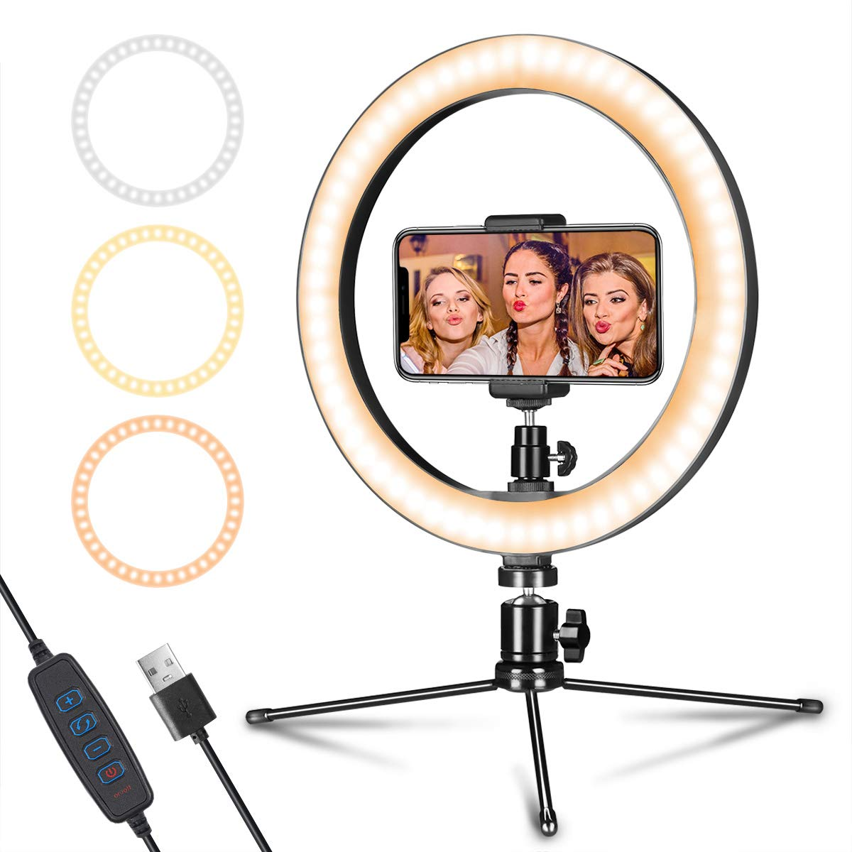 LED Ring Light 10'' with Tripod Stand & Phone Holder for Live Streaming & YouTube Video, Dimmable Desk Makeup Ring Light for Photography, Shooting with 3 Light Modes & 10 Brightness Level by AIXPI