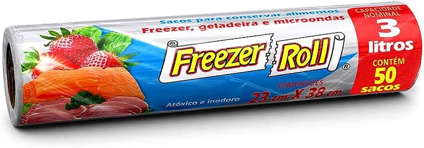 Saco para alimentos Freezer-Roll, 3 litros, transparente, rolo com 50 sacos cada