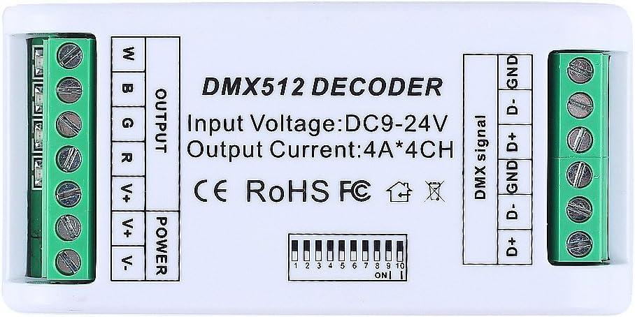 CHINLY Decodificador DMX de 4 Canales RGB RGBW Controlador LED de 12A Regulador DMX 512 Dimmer DC9V-24V para Módulo RGB RGBW LED Strip