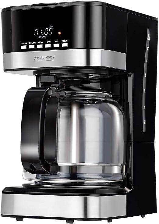 MPM MKW-05 Cafetera programable eléctrica Goteo automática, máquina café Filtro Capacidad 15 Tazas, 1.8 litros, Display LCD, función de mantenedora Calor, 950 W, Color Negro Acero Inoxidable: Amazon.es: Hogar