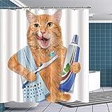 BTTY Shower Curtain Brushing Cat Decor Bathroom Polyseter Fabric Mildew Resistant Washable 69'x70' Kid Adult Shower Curtain Hooks