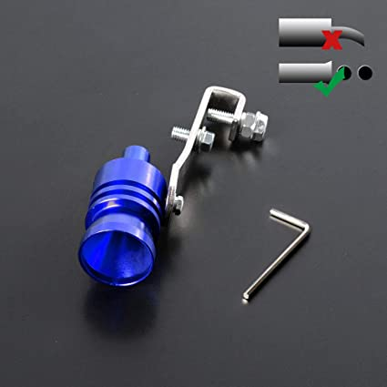 Universal Size L Whistle Turbo Sound Noise Exhaust Muffler Pipe Simulator Universal Blue