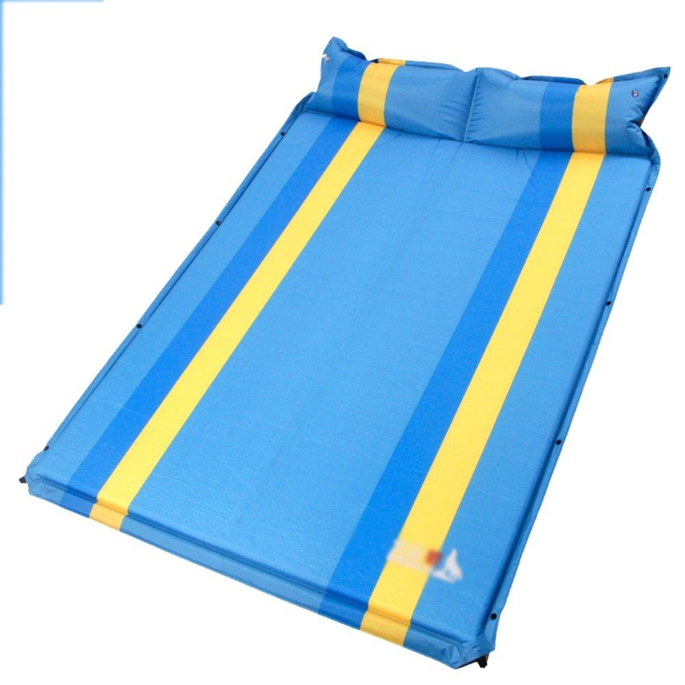 Unbekannt Sheng Doppelte aufblasbare Kissen im Freienzelt Schlafmatten Feuchtigkeitsauflage, die Dickes doppeltes Kissen erweitert (Farbe   Blau)