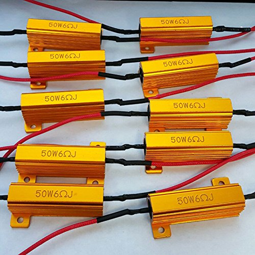 LED Load Resistor 50W 6 ohm - LED Turn Signal Resistor Flasher - Fix LED Bulb Fast Hyper Flash Turn Signal Blink Error Code (10 pcs)