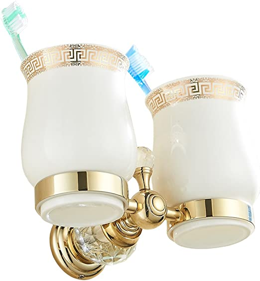 Luxury Rose Gold Crystal Deco Bathroom Toothbrush Holder Rrack with Double Cup