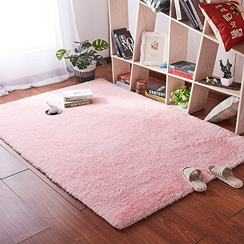 Softlife Soft Velvet Silk Rugs Simple Style Modern Shaggy Carpet Fashion Color Bedroom Mat for Girls Home Decor,4 x 5.3 Feet Pink