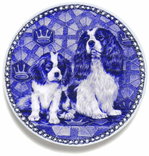 Lekven Cavalier King Charles Spaniel and Puppy: Danish Blue Porcelain Plate #3018