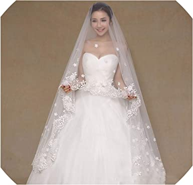2 5 M Wedding Veils Bridal Lace Edge With Flowers Beaded Wedding Accessories Ivory 300cm At Amazon Women S Clothing Store