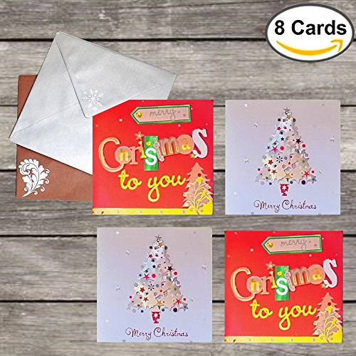8 Hand Cut 3D Christmas Cards: Box Set of Square Holiday Cards with Detailed Designs, Embellished with Cutouts and Foil (Envelopes Included)