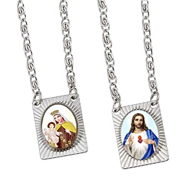 necklace amazon our carmel sacred dp and heart scapular jesus lady of steel mt stainless com