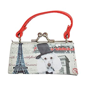 622f45633b2a Dog Lover Lipstick Case with Handle Mini Mahjong Coin Purse - Black White  Red