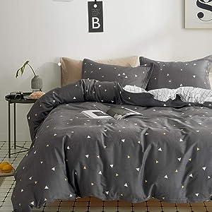 Uozzi Bedding 3 Piece Duvet Cover Set 800 - TC Luxury Hypoallergenic Comforter Cover with Corner Ties Gift Choice (Dark Gray Triangles, King (1duvet Cover +2pillowshams))