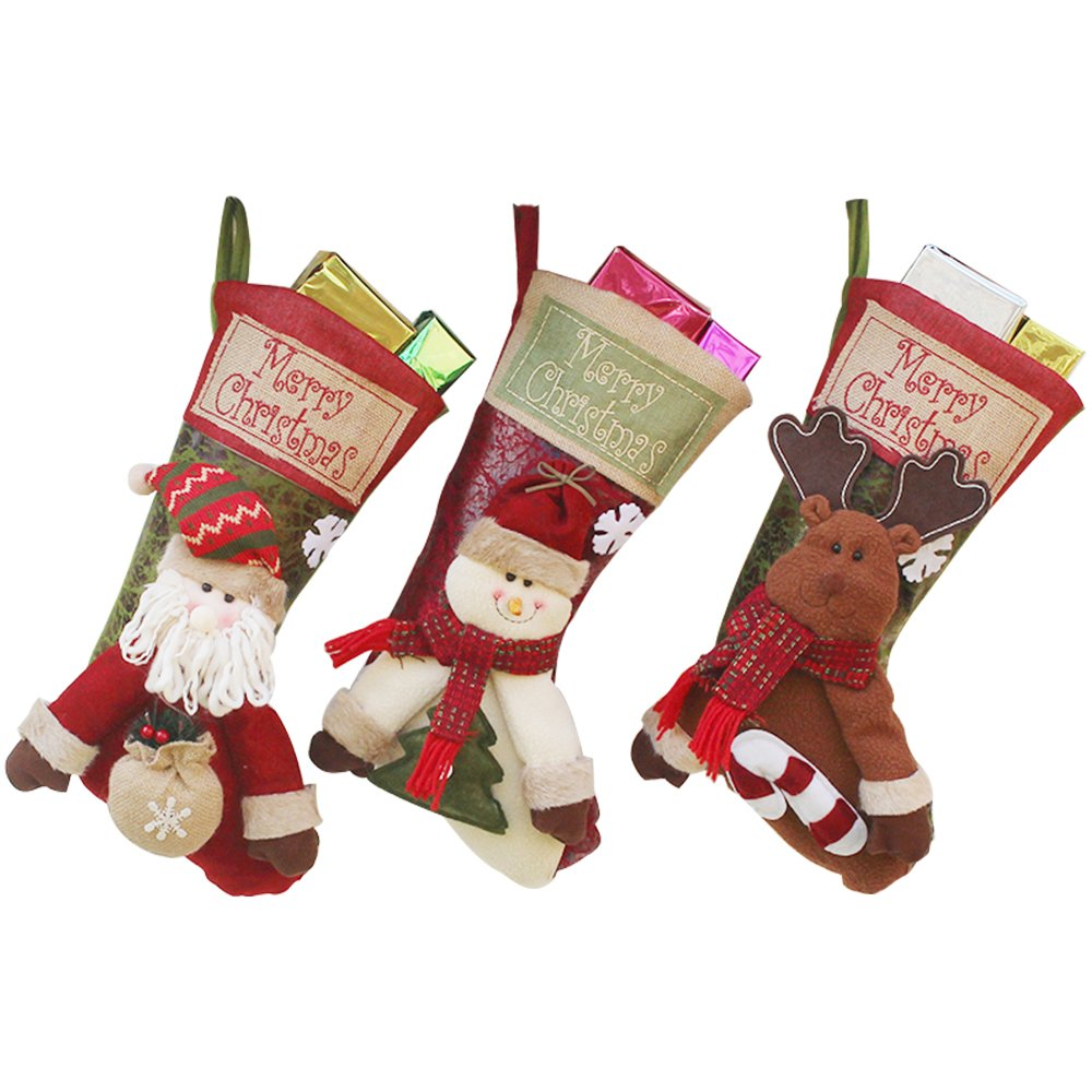 GZMAY 3PCS Christmas Stockings 18 inch Cute Santa's Toys Candy Socks Christmas Gifts Bag for Xmas Tree Hanging Ornament Christmas Party Decor