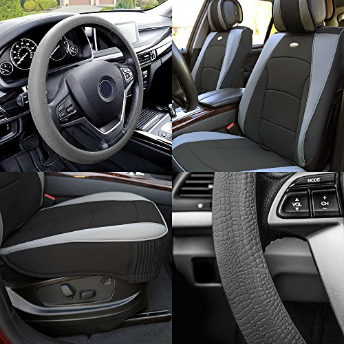 - FH GROUP PU205102 Ultra Comfort Leatherette Cushion Pad Pair Set Seat Covers Gray Black Color w. FH3001 Gray Silicone Steering Wheel Cover- Fit Most Car, Truck, Suv, or Van