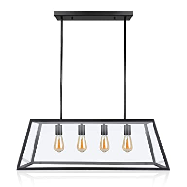 EUL Mason Jar Light Fixture 5-Light Linear Chandelier Glass Hanging Pendant Lights Oil Rubbed Bronze Kitchen Island Lighting