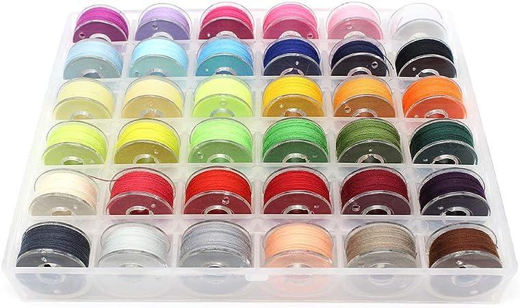Yuhtech - Juego de 36 bobinas de hilo para máquina de coser, multicolor con estuche de almacenamiento: Amazon.es: Hogar