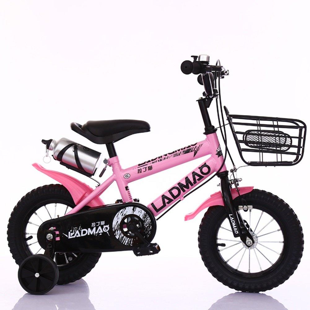 Lll- 子供用自転車2-5-6-8-14歳の男の子と女の子の乳母車12-14-16-18インチトレーニングホイール付きの自転車 (色 : ピンク, サイズ さいず : 16