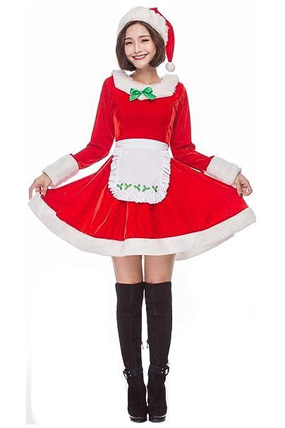 Amazon.com: Disfraz de Papá Noel para mujer, de Navidad ...