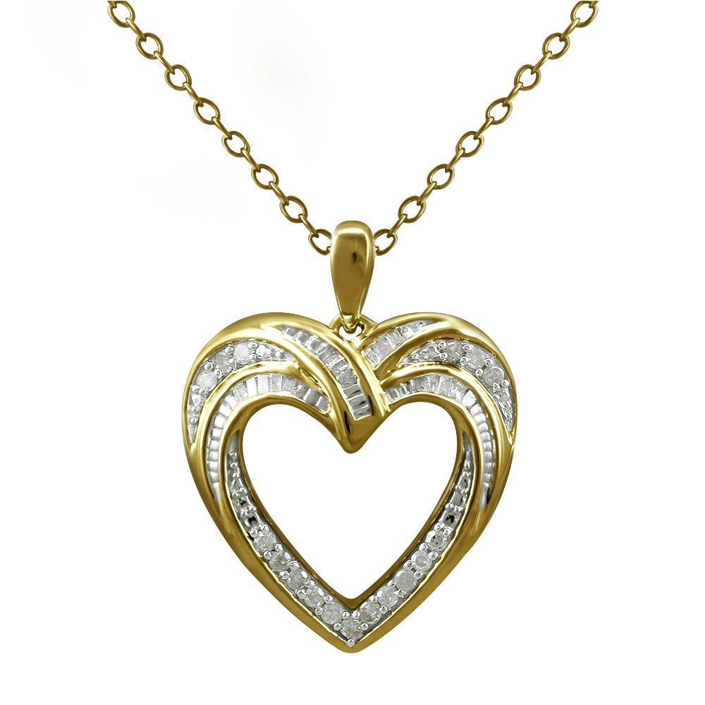 Christmas Gifts Pendant Necklace Earring Set For Women: .925 Sterling Silver Real Baguette Round Diamonds Yellow Plating with Heart Shaped Design ( 0.25cttw IJ I2I3 Clarity)