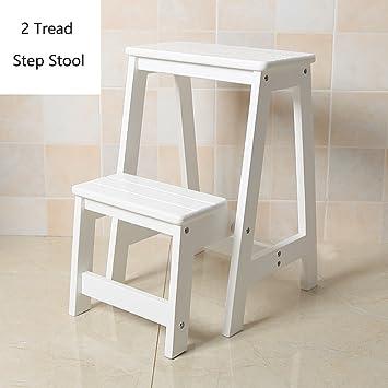 Taburete Taburete de 2 Pasos de Madera para Adultos y niños Escalera de Tijera Plegable de Interior Cocina Escaleras de Madera Taburetes de pies pequeños Banco de Zapatos portátil/Rack de Flores: Amazon.es:
