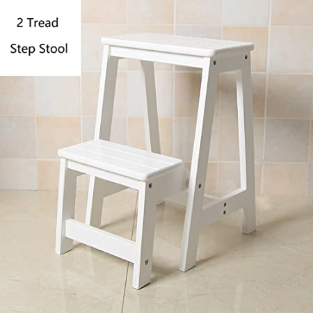 Wood Step Stoo Taburete de 2 pasos de madera para adultos y niños Escalera de tijera