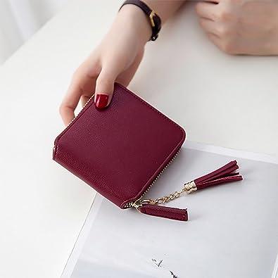 5da52079c380 Wanghong 財布レディース人気 二つ折り小銭入れカードケース 小さい財布コインケース ジッパーカワイイ