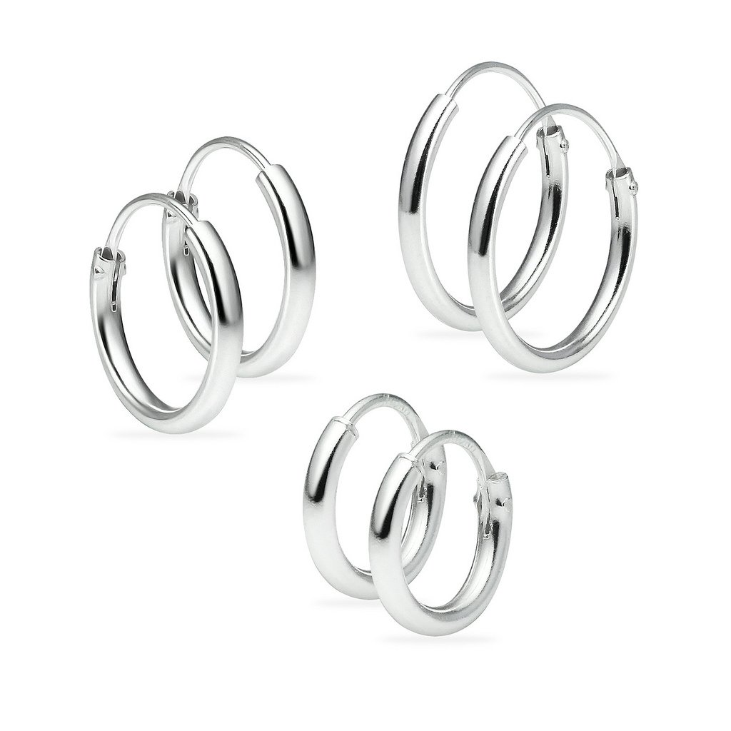 Set of Three Sterling Silver Small Endless 1.2mm x 8mm 8mm & 10mm Lightweight Thin Round Unisex Hoop Earrings