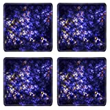O Cha Kitchen and Bar MSD Natural Rubber Square Coasters IMAGE ID: 687063 Blue space flowers or corals Abstract fractal background