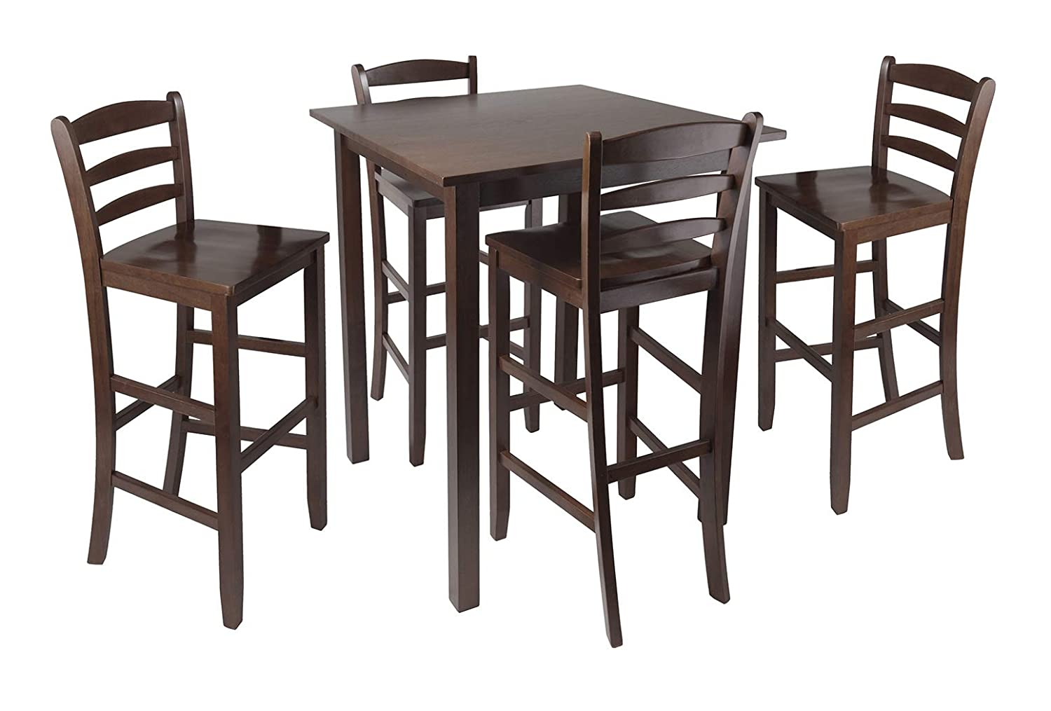 """Wood & Style Premium Décor 5pc High Table with 29"""" Ladder Back Stools"""