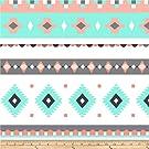 David Textiles Prints Bohemian Diamond Stripe Fleece, Aqua/Coral
