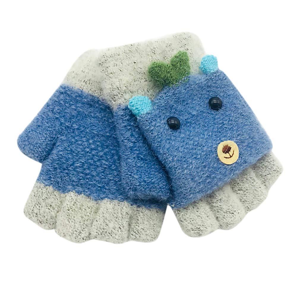 Jchen(TM) Baby Kids Little Girls Boys Winter Cartoon Animal Patchwork Keep Warm Mittens Gloves for 1-3 Y Little Kids Winter Gloves