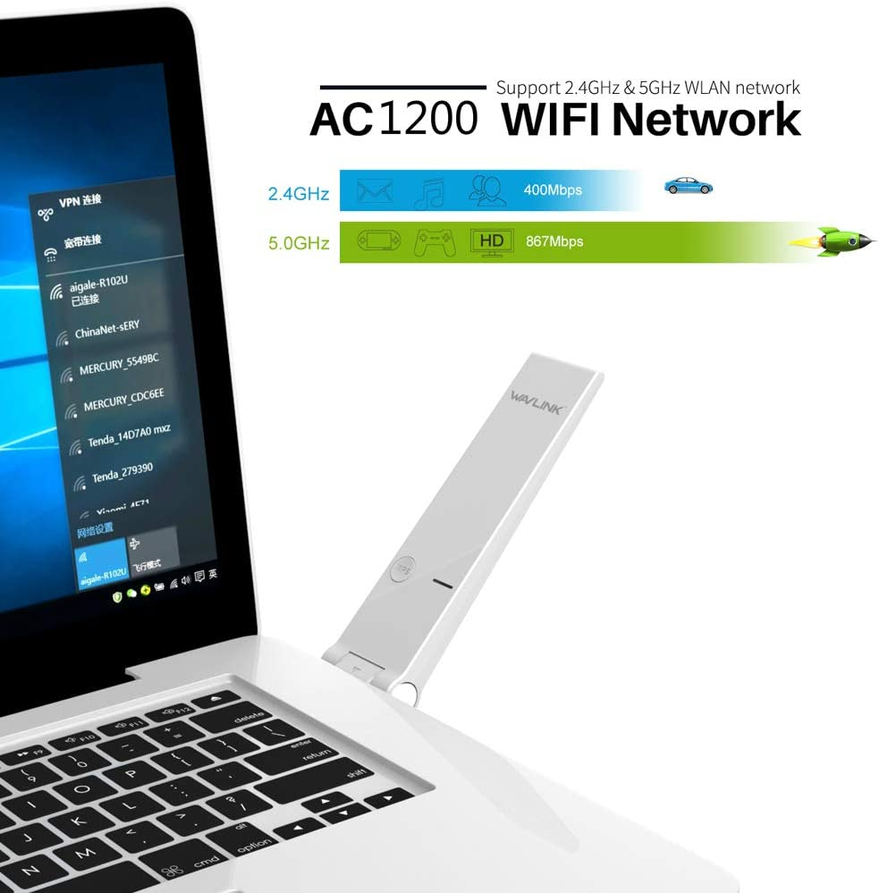 5Ghz AC1300 Wireless USB WiFi Adapter Dual Band 2.4//5Ghz High Speed Network Card Ethernet Wi-Fi Receiver for Windows Mac Black