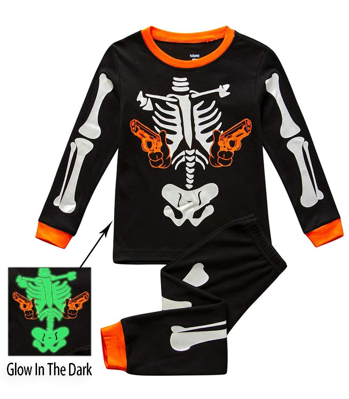 boys halloween pajamas sets skeleton glow in the dark 100 cotton sleepwears pjs set 2t 7