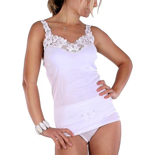 bfaf0147b91029 Celesté Damen Unterhemd mit großer Spitze in Weiss 100% gekämmte Baumwolle,  Trockner geeignet