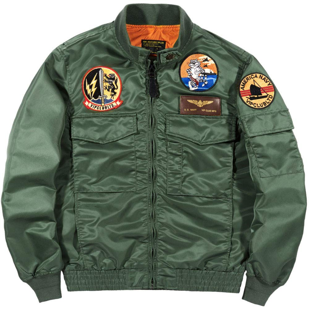 YongBe Chaqueta De Vuelo Bomber Hombre MA-1 Parches Chaqueta ...