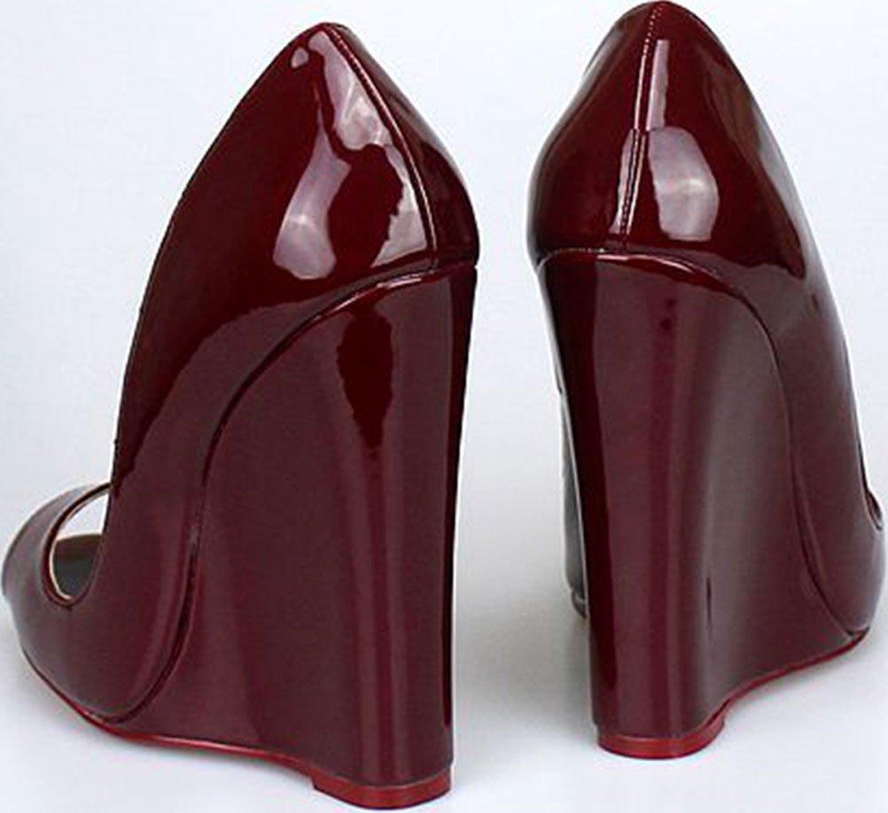 Abby A-46 Womens Comfort Wedge Supper High Heeled Nightclub Party Cross Gender Overside US9-15 Peep Toe PU Sandals B07B2VDTYK 9 B(M) US|Wine