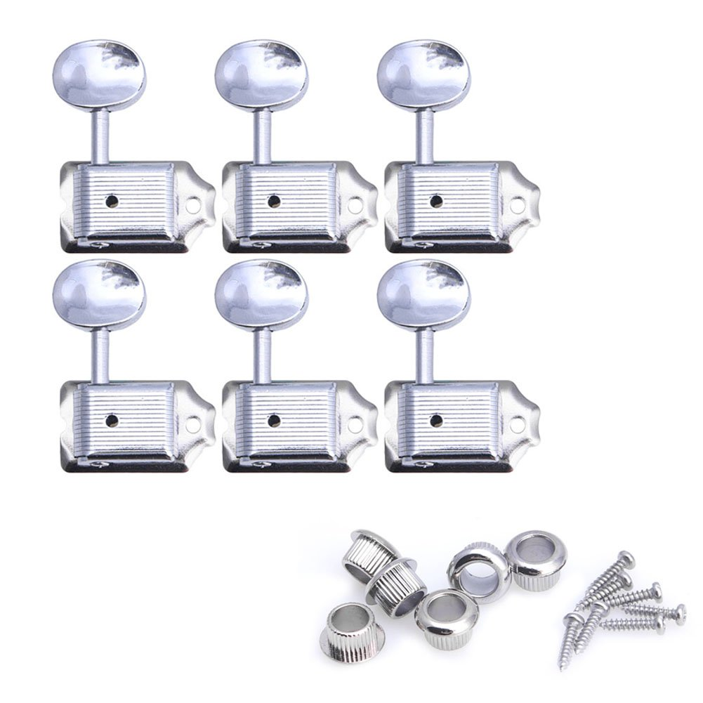 Kocome 6 In Line Nickel Vintage Style Machine Heads Tuning Pegs For Strat