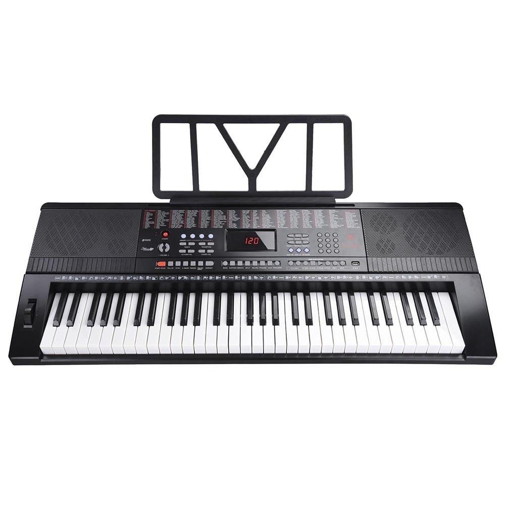 GHP Black LCD Display 61-Key 2-way Speaker Electronic Keyboard Piano w USB Input