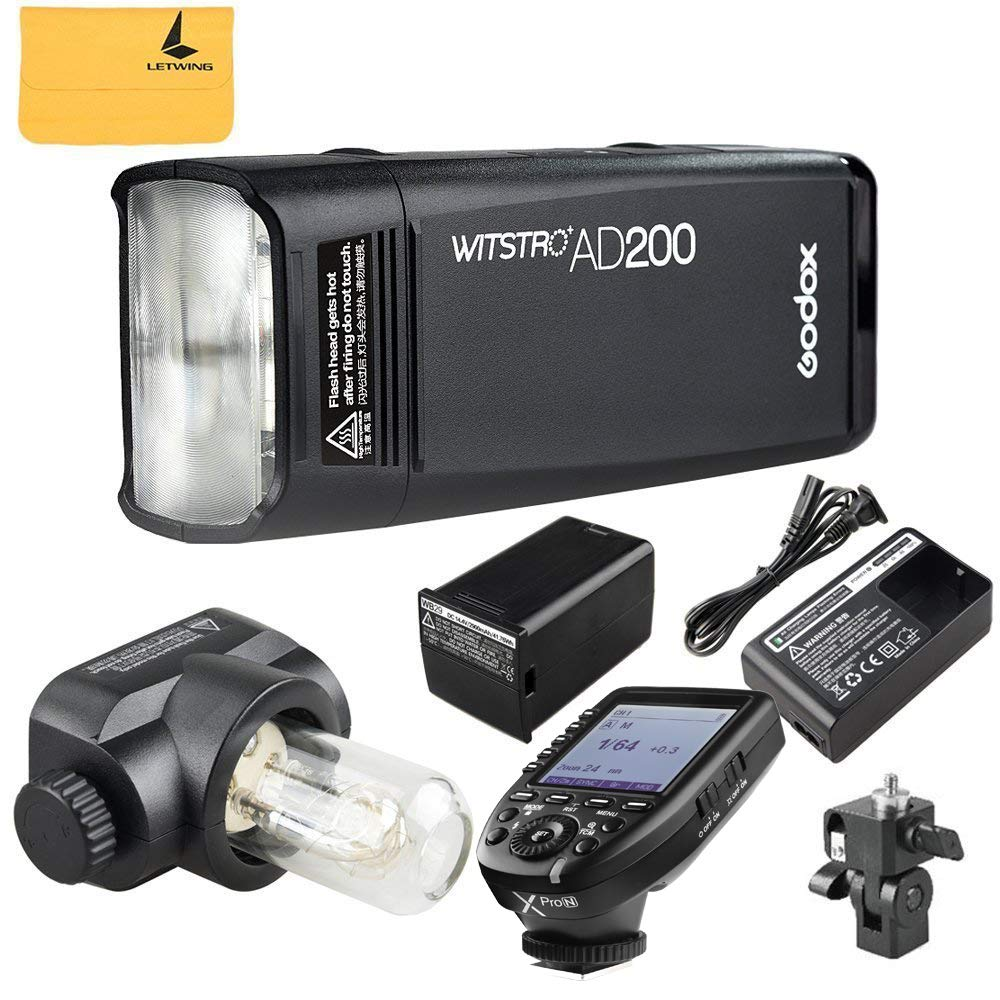 Godox AD200 TTL 2.4G HSS 1/8000s Pocket Flash Light Double Head 200Ws with 2900mAh Lithium Battery+Godox XPro-N TTL 2.4 G Wireless Flash Trigger Transmitter Compatible for Nikon