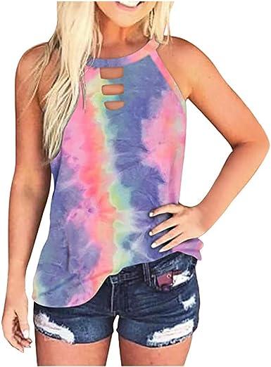 Womens Leopard Tie-Dye Sleeveless Pocket Tank Top Casual Summer Blouse Shirts