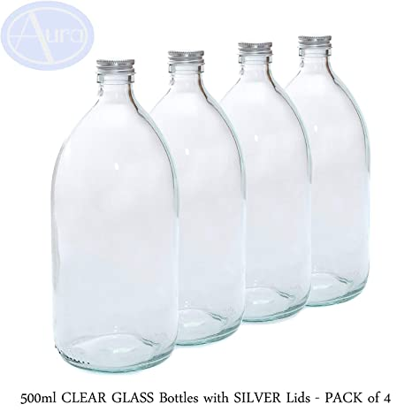 500 ml Claro botellas de vidrio con tapa de color plateado – Pack de 4