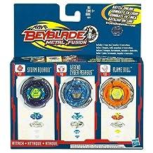Beyblades Metal Fusion Exclusive Battle Top 3Pack Storm Aquario, Legend Cyber Pegasus Flame Bull